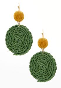 Round Braided Raffia Earrings