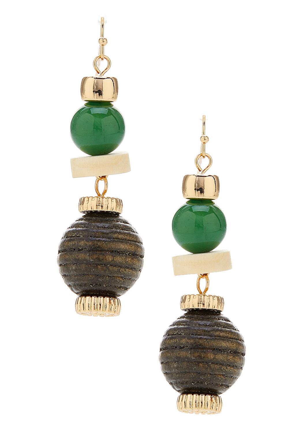 Wood And Acrylic Bead Earrings