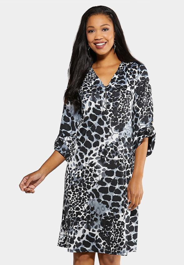 Plus Size Brown Leopard Shift Dress