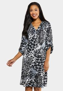 Plus Size Brown Leopard Shift Dress