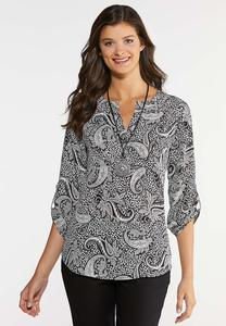 Plus Size Black And White Paisley Top