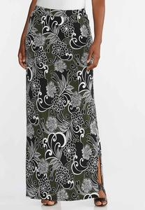 Plus Size Floral Puff Maxi Skirt