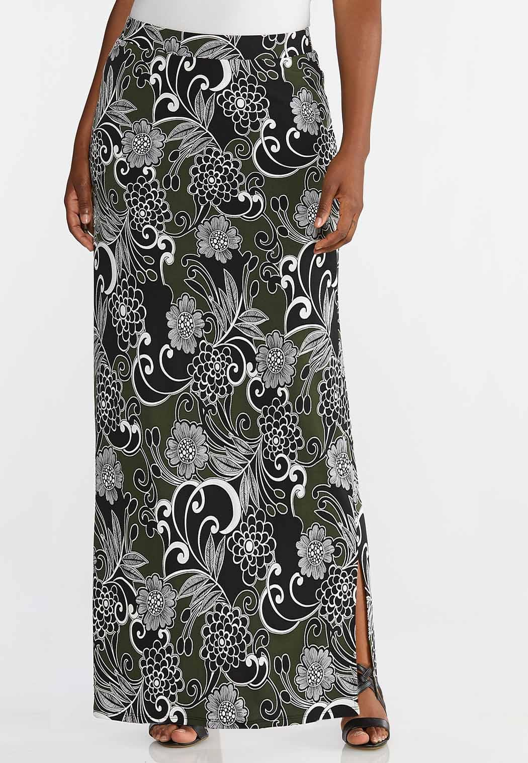 a3485efbd0 Plus Size Floral Puff Maxi Skirt Skirts Cato Fashions