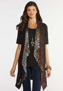 Plus Size Woven Animal Print Vest