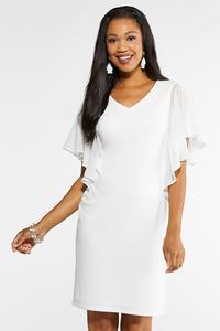 Plus Size White Chiffon Sleeve Dress