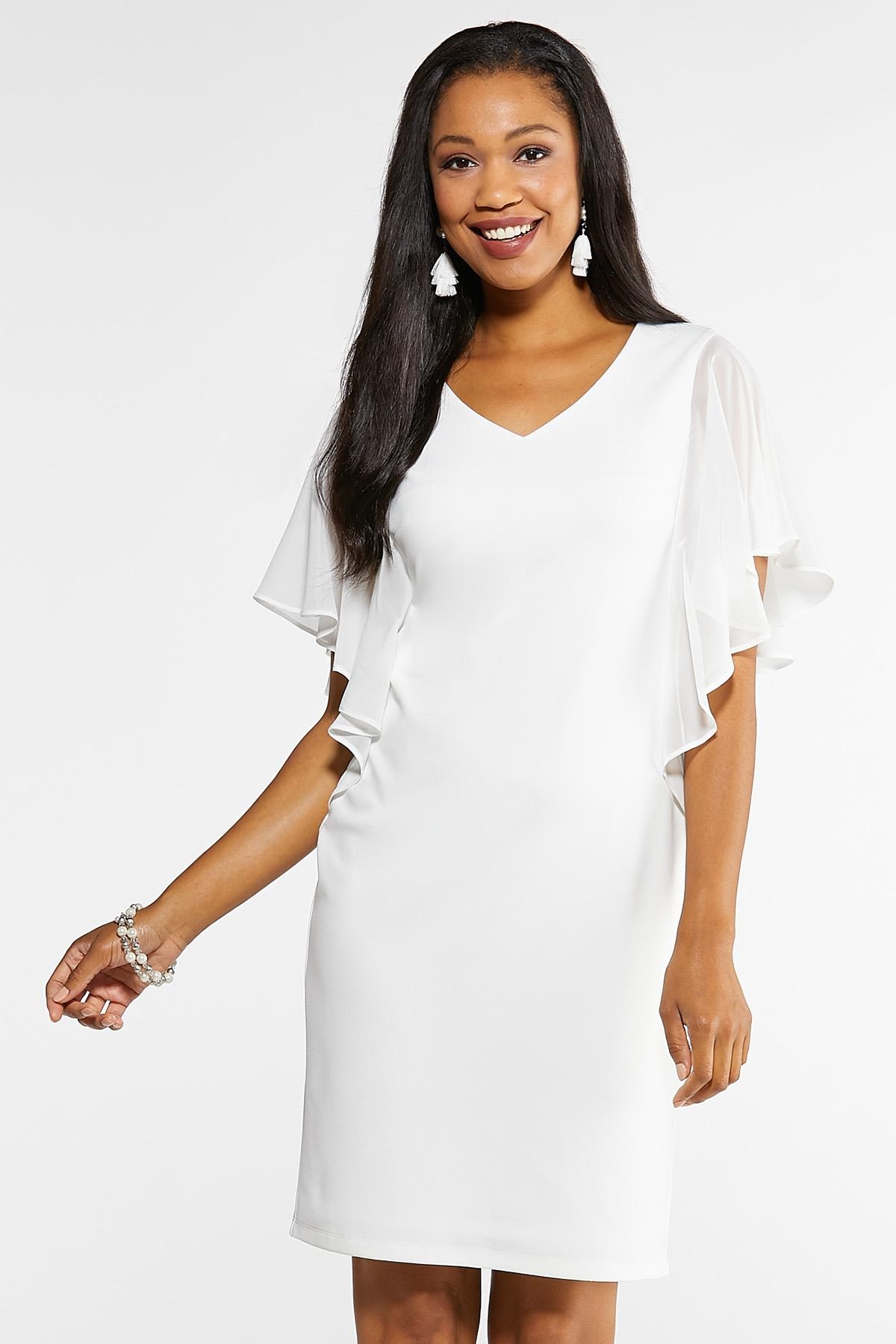 Plus Size White Chiffon Sleeve Dress Dresses Cato Fashions