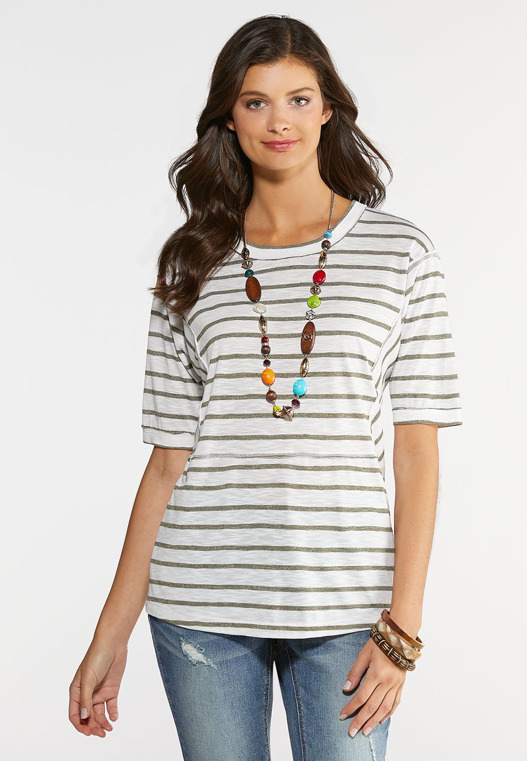 Plus Size Seamed Stripe Tunic