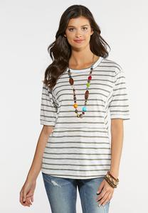 Plus Size Seamed Stripe Tunic