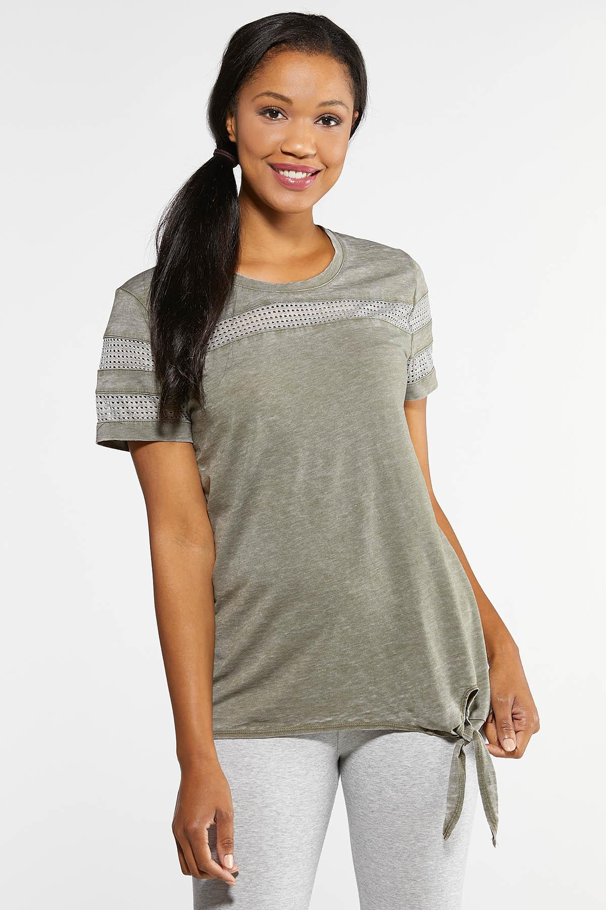 Mesh Trim Side Tie Tee
