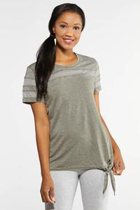 Plus Size Mesh Trim Side Tie Tee