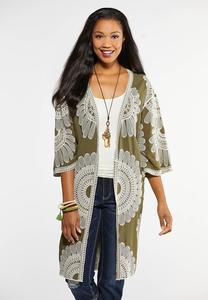 Plus Size Embroidered Olive Kimono
