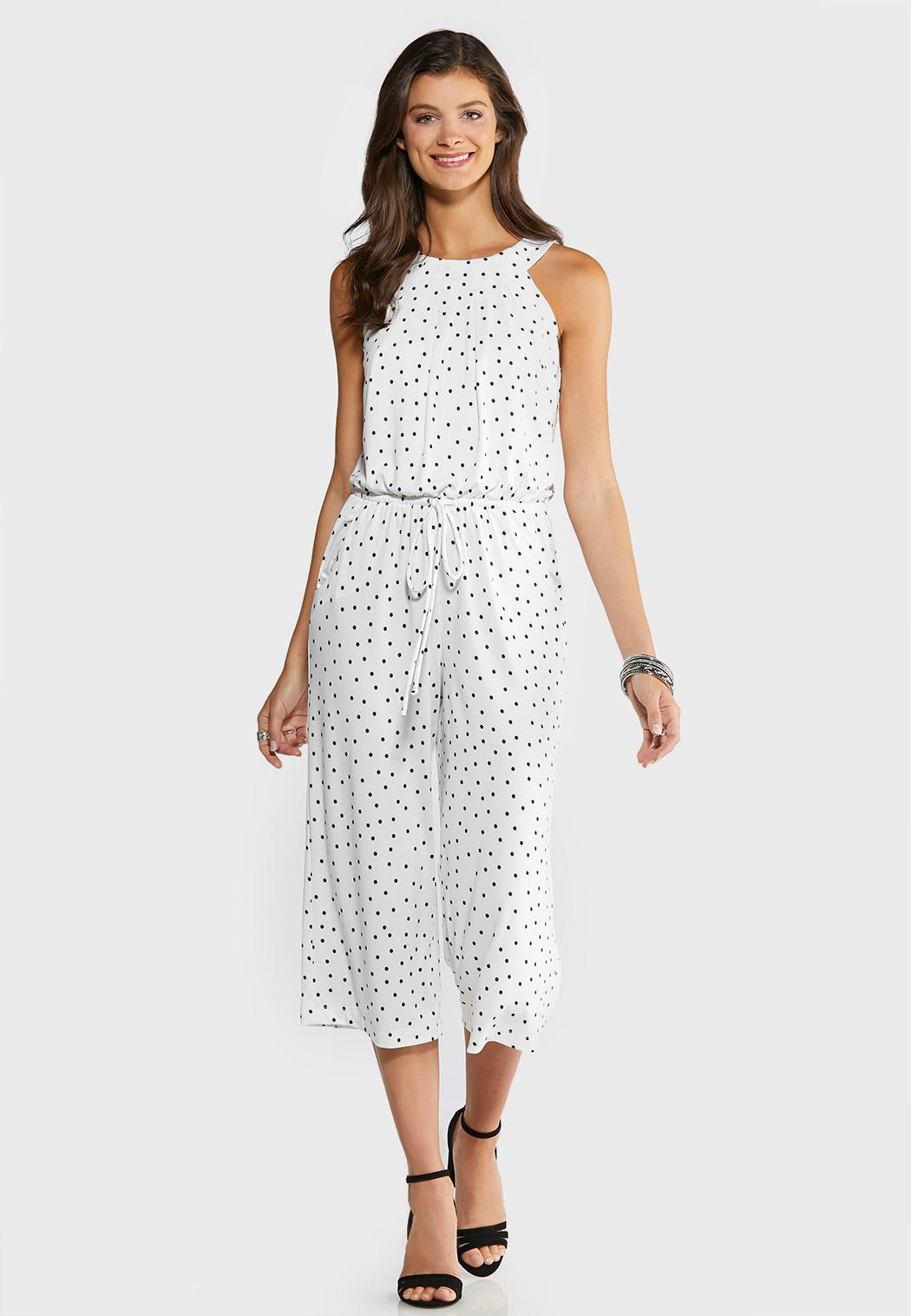 White Black Dotted Jumpsuit