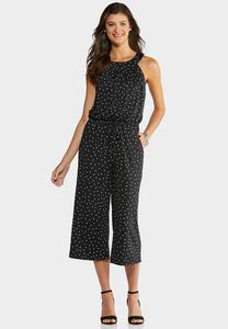 Black White Dotted Jumpsuit