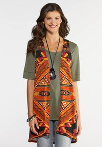 Plus Size Tribal Print Vest