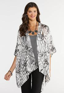 Floral Shadow Stripe Kimono