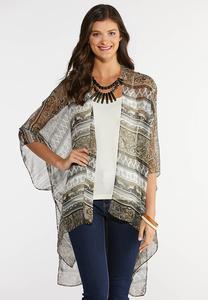 Olive Paisley Stripe Kimono