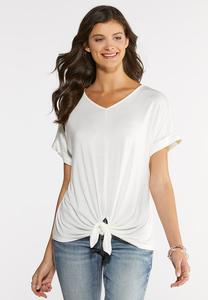 Plus Size Knotted Lace Back Top
