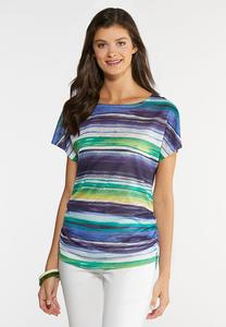 Stripe Ruched Side Top