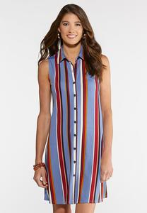 Plus Size Striped Shirt Dress