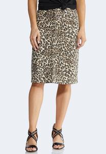 Plus Size Cheetah Denim Skirt