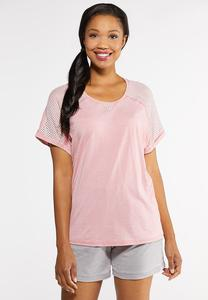 Plus Size Rose Mesh Sleeve Tee