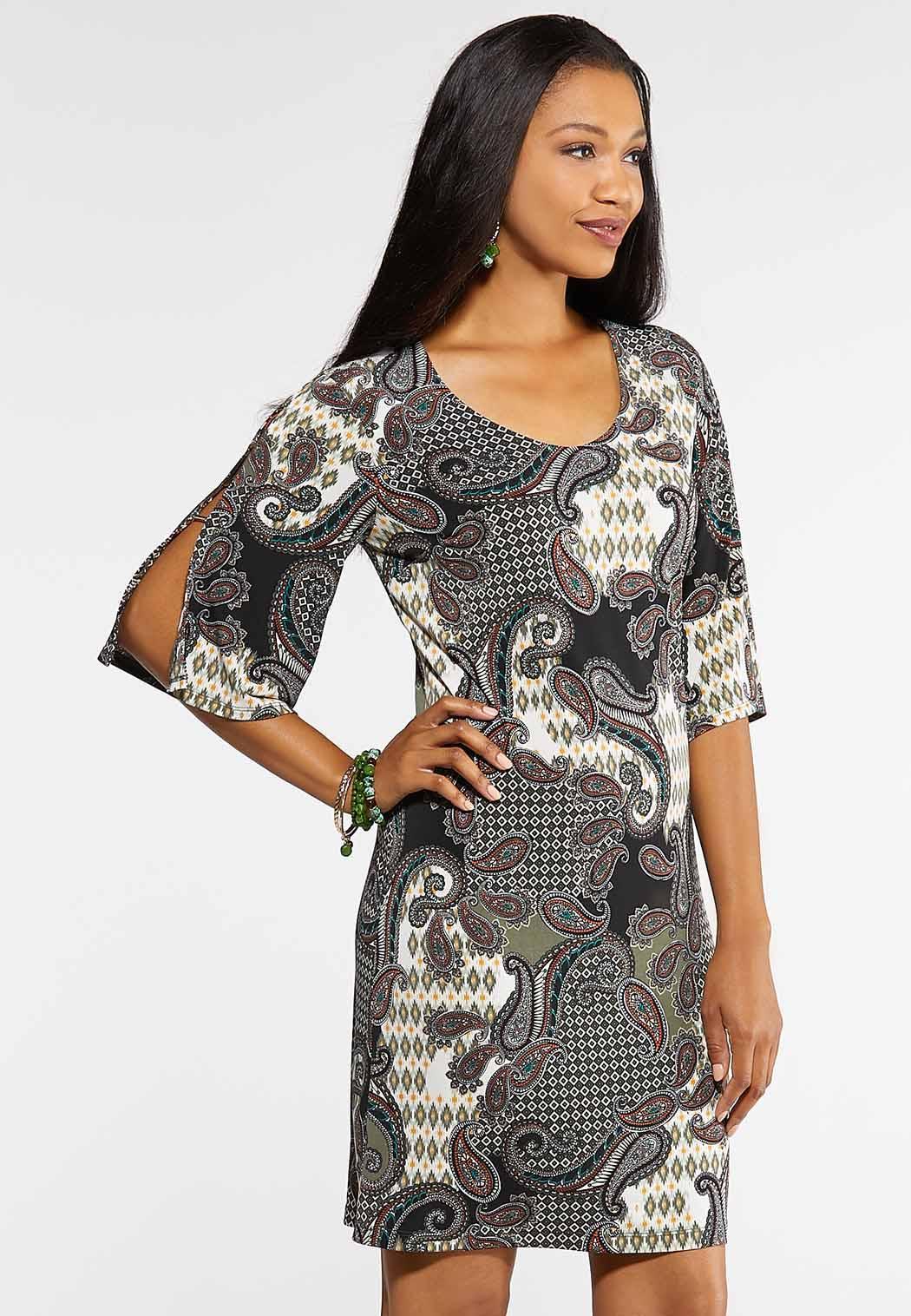 Plus Size Hardware Paisley Dress A- Line & Amp ; Swing Cato Fashions