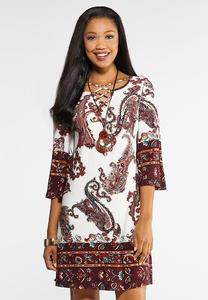 Plus Size Paisley Lattice Swing Dress