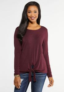 Plus Size Seamed Tie Front Tee