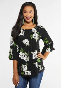 Plus Size Floral Crochet Poet Top