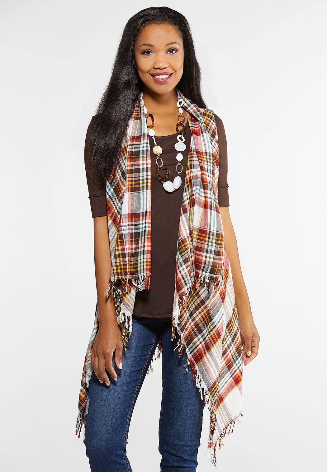Plus Size Plaid Fringe Vest