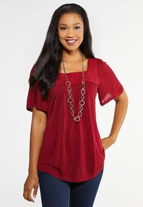 Plus Size Square Neck Flutter Top