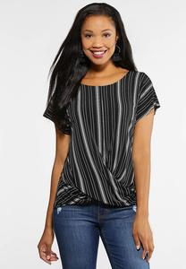 Plus Size Twist Front Striped Top