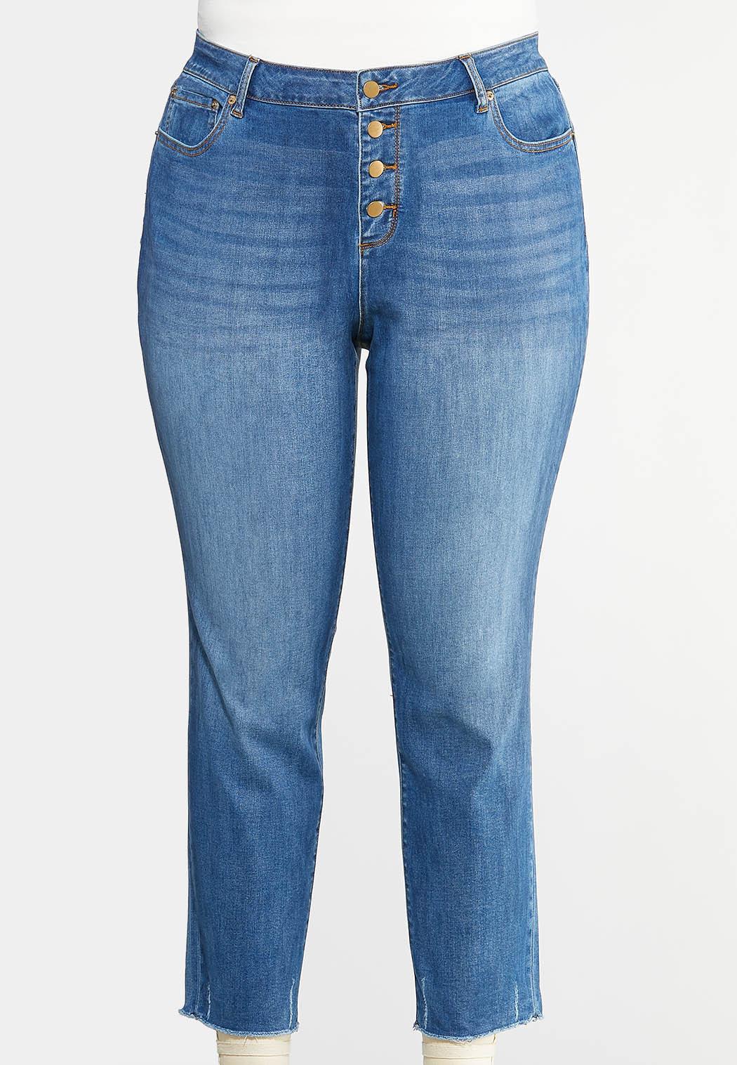 Plus Size Buttonfly Raw Hem Jeans