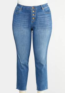 Plus Size Buttonfly Raw Hem Jeans