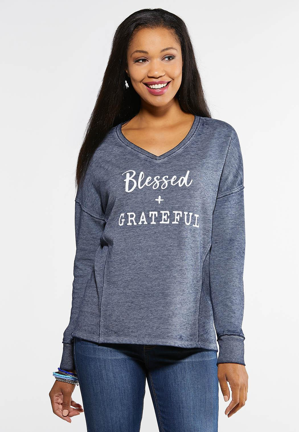 Plus Size Blessed And Grateful Top
