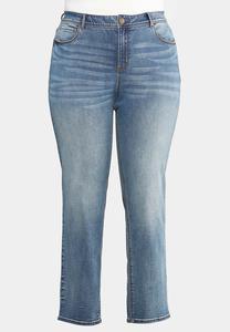 Plus Size Medium Wash Straight Leg Jeans