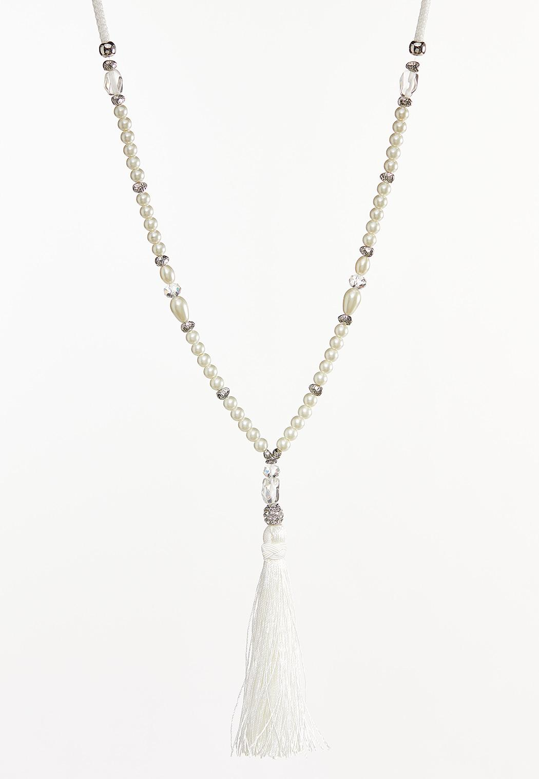 Pearl And Pave Tassel Necklace