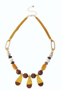 Multi Wood Bead Cord Necklace