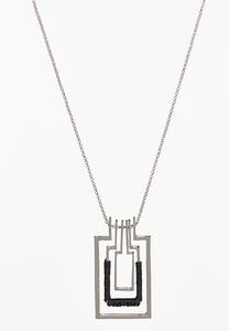 Layered Rectangle Pendant Necklace