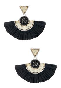 Raffia Fanned Tassel Earrings