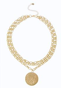 Coin Pendant Chain Link Necklace