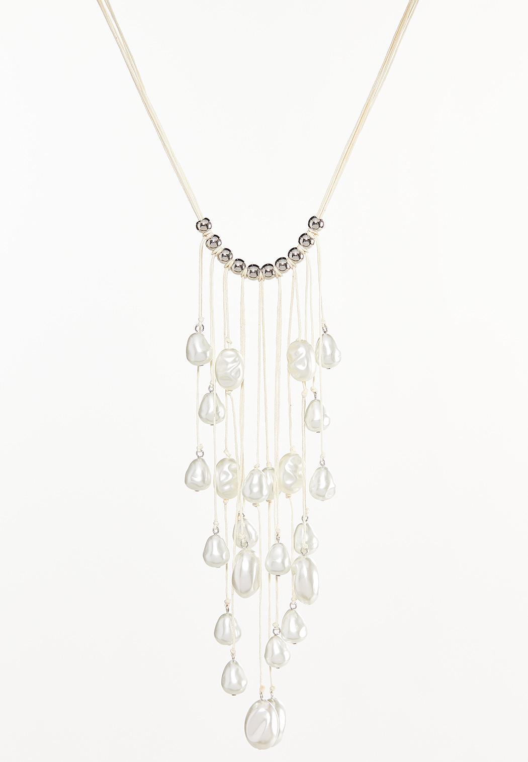 Pearl Fringe Bib Necklace