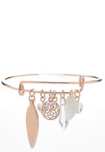 Leaf Mixed Stone Charm Bracelet