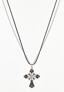Cross Charm Chain Cord Necklace