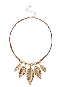 Gold Leaf Corded Necklace