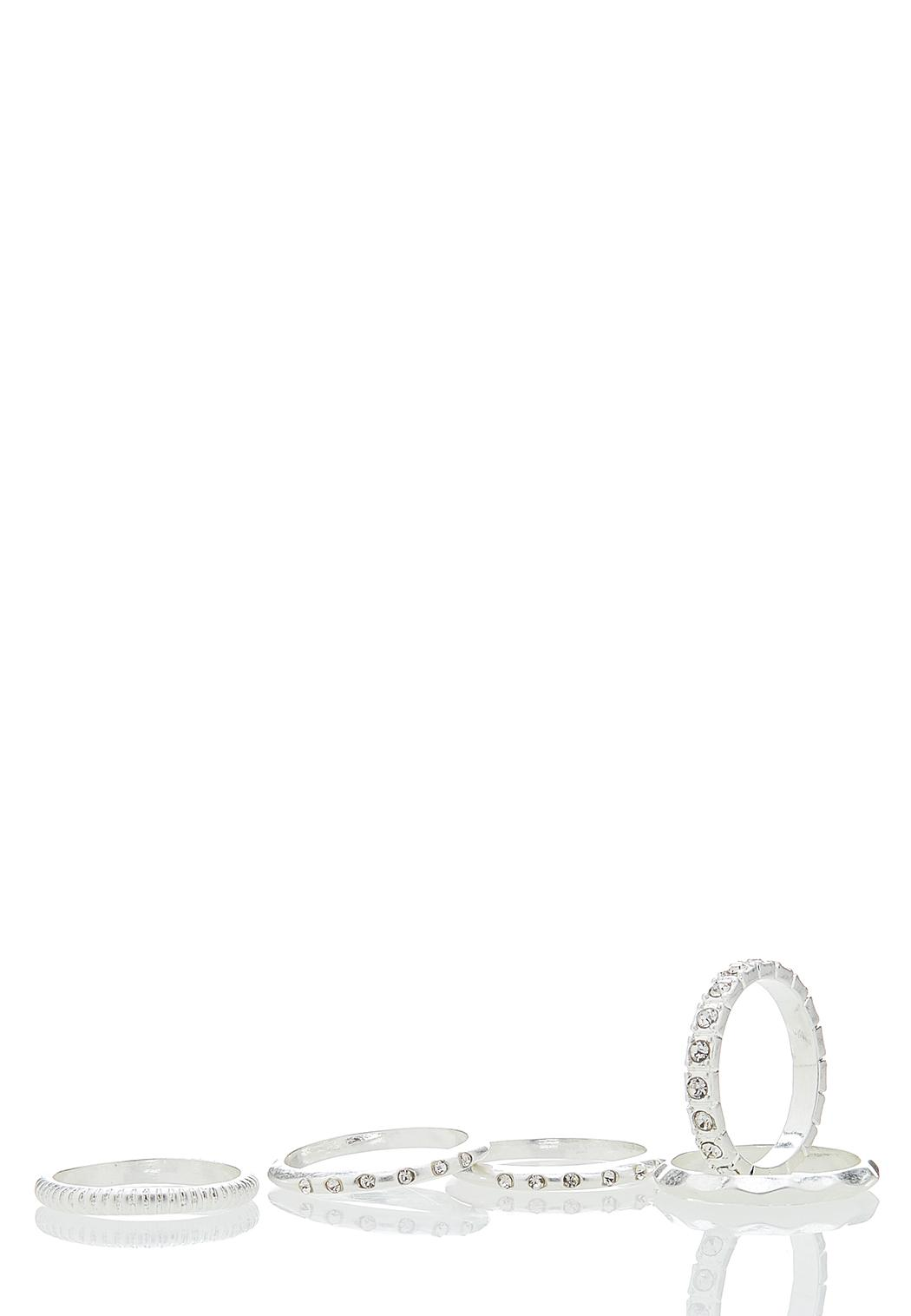 Textured And Pave Ring Set