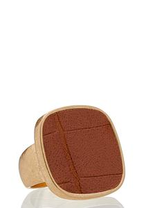 Faux Leather Statement Ring