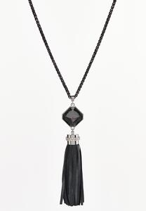 Black Ribbon Tassel Necklace