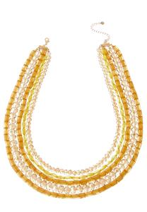 Layered Gold Bead Necklace