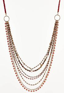 Suede Cord Beaded Necklace